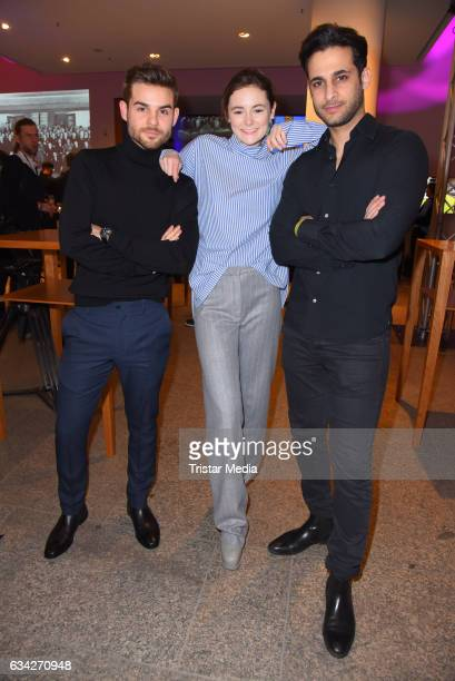 Lucas Reiber Lea van Acken and Karim Guenes attend the opening recipience of the german film and TVproducer alliance to the 67 Berlinale...