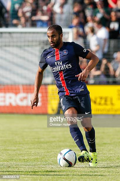 Lucas Rodrigues Moura da Silva of Paris SaintGermain controls the ball during the Friendly Match between Wiener Sportklub and Paris SaintGermain at...