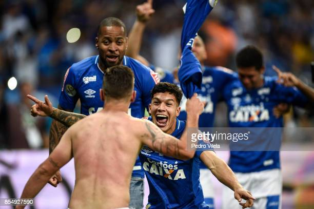 Lucas Romero of Cruzeiro celebrates the title after a match between Cruzeiro and Flamengo as part of Copa do Brasil Final 2017 at Mineirao stadium on...