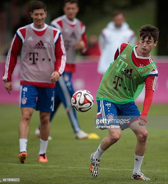 Lucas Scholl of Bayern Muenchen attends a training session at Bayern`s trainings ground Saebener strasse on July 9 2014 in Munich Germany