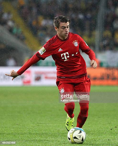 Lucas Scholl of Bayern Muenchen during the friendly match between SG Dynamo Dresden and FC Bayern Muenchen at GluecksgasStadion on August 17 2015 in...