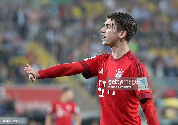 Lucas Scholl of Bayern Muenchen reacts during the friendly match between SG Dynamo Dresden and FC Bayern Muenchen at GluecksgasStadion on August 17...