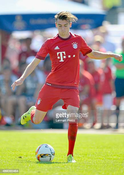 Lucas Scholl of FC Bayern Muenchen in action during a friendly match between Fanclub Red Power and FC Bayern Muenchen on August 30 2015 in Deggendorf...