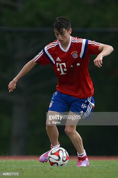 Lucas Scholl runs with the ball during a training session on day three of the Audi Summer Tour USA 2014 at Montclair University on August 1 2014 in...