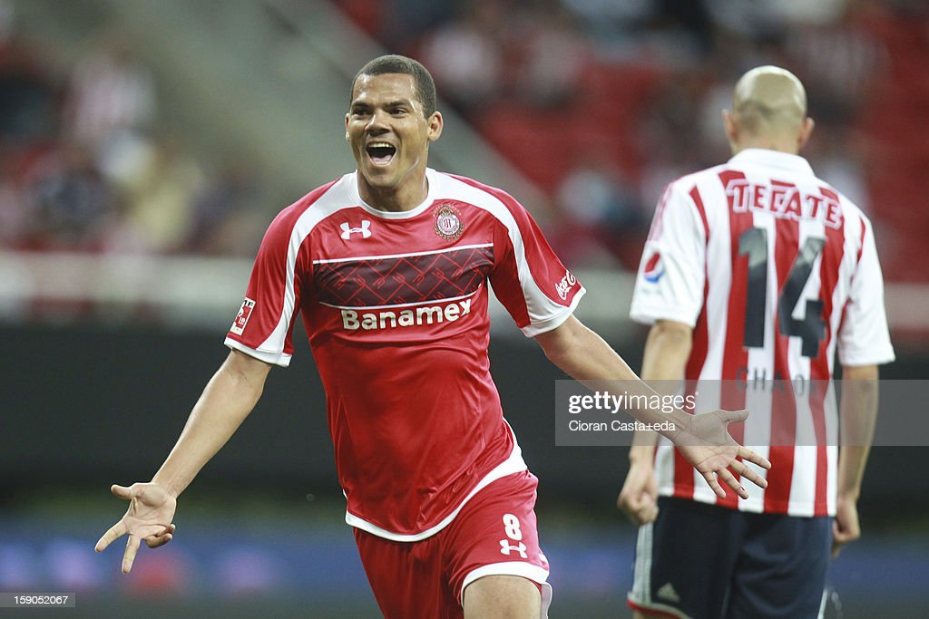 Lucas Silva of Toluca celebrates a goal during the match between Chivas and Toluca as part of the Clausura 2013 Liga MX tournament at Omnilife Stadium on January 06, 2013 in Guadalajara, Mexico.