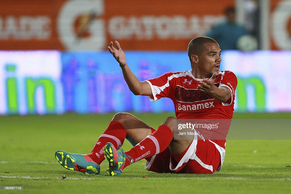 Lucas Silva of Toluca reacts during the Clausura 2013 Liga MX at Hidalgo Stadium on february 2, 2013 in Pachuca, Mexico.