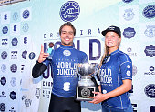 Lucas Silveira of Brazil and Isabella Nichols of Australia with the trophy of World Junior Champions 2016 after winning the Final of the Ericeira...