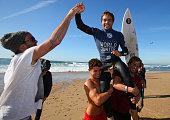 Lucas Silveira of Brazil celebrates after winning the Final of the Men's Ericeira World Junior Championships 2016 of Surfing at Praia de Ribeira...