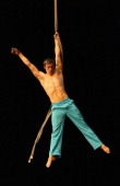 Lucas Simonds performs during a National Institute of Circus Arts media call for the production of 'One False Move' at NICA on June 17 2013 in...