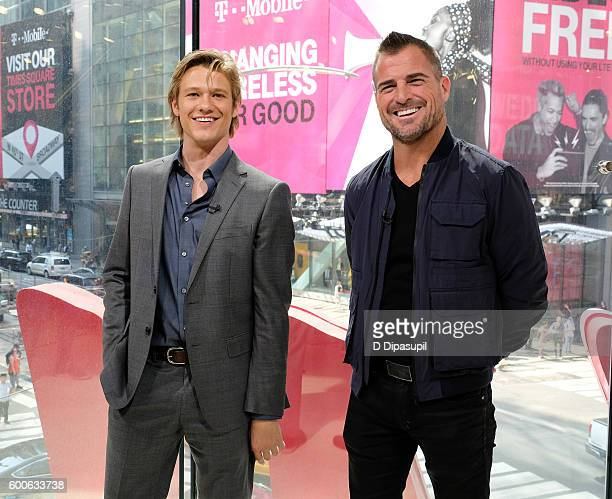 Lucas Till and George Eads visit 'Extra' at their New York studios at HM in Times Square on September 8 2016 in New York City