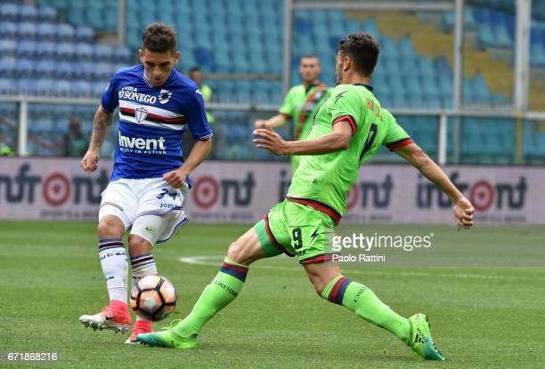 Lucas Torreira and Andrea Nalini during the Serie A match between UC Sampdoria and FC Crotone at Stadio Luigi Ferraris on April 23 2017 in Genoa Italy