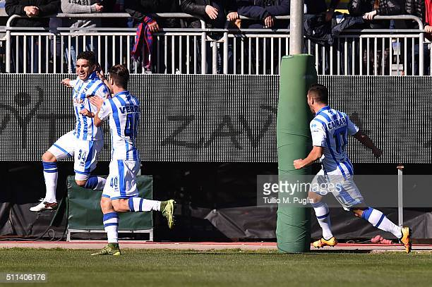 Lucas Torreira of Pescara celebrates after scoring the opening goal during the Serie B match between Cagliari Calcio and Pescara Calcio at Stadio...