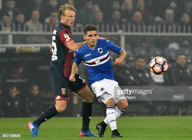 Lucas Torreira of Sampdoria and Oscar Hiljemark of Genoa during the Serie A match between Genoa CFC and UC Sampdoria at Stadio Luigi Ferraris on...