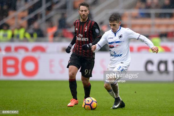 Lucas Torreira of UC Sampdoria and Andrea Bertolacci of AC Milan compete for the ball during the Serie A football match between AC Milan and UC...