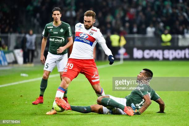 Lucas Tousard of Lyon and Habib Maiga of Saint Etienne during the Ligue 1 match between AS Saint Etienne and Olympique Lyonnais at Stade...