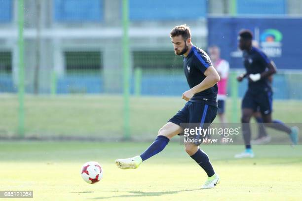 Lucas Tousart clears the ball during a France training session for the FIFA U20 World Cup Korea Republic at Cheonan SPark on May 19 2017 in Cheonan...