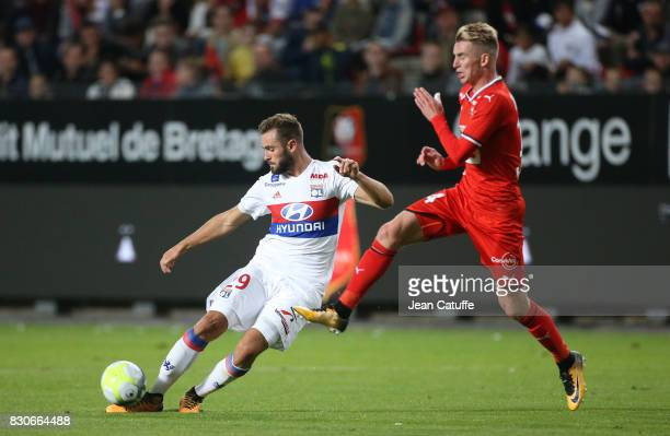 Lucas Tousart of Lyon and Benjamin Bourigeaud of Stade Rennais during the French Ligue 1 match between Stade Rennais and Olympique Lyonnais at...