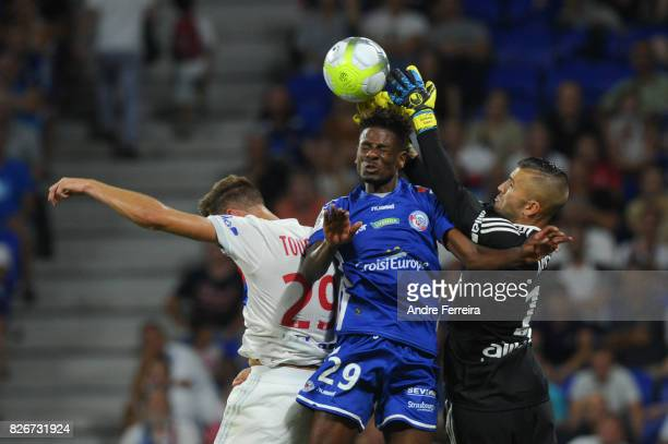 Lucas Tousart of Lyon and Nuno Da Costa Joia of Strasbourg and Anthony Lopes of Lyon during the Ligue 1 match between Olympique Lyonnais and...
