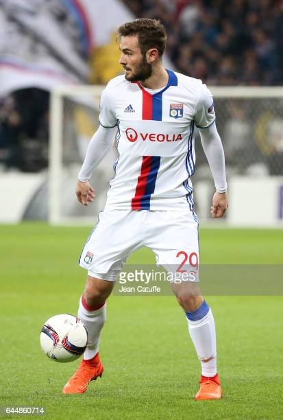 Lucas Tousart of Lyon in action during the UEFA Europa League Round of 32 second leg match between Olympique Lyonnais and AZ Alkmaar at Parc OL on...