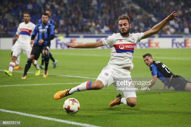 Lucas Tousart of Olympique Lyonnais Lyon keeps the ball in play during the UEFA Europa League group E match between Olympique Lyonnais Lyon and...