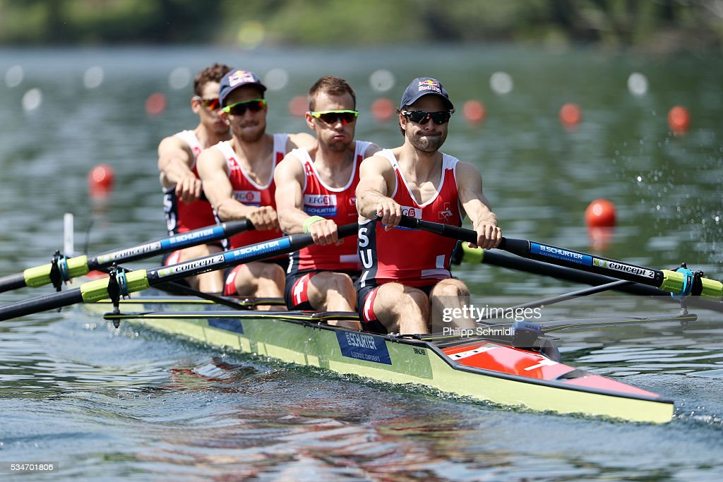 Lucas Tramer, Simon Schuerch, Simon Niepmann and Mario Gyr of Switzerland compete in the Lightweight Men's Four heats during day 1 of the 2016 World Rowing Cup II at Rotsee on May 27, 2016 in Lucerne, Switzerland.