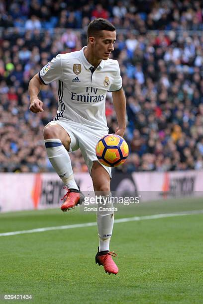 Lucas Vazquez #17 of Real Madrid during the La Liga match between Real Madrid and Malaga CF at Santiago Bernabeu on January 21 2017 in Madrid Spain
