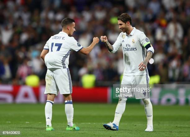 Lucas Vazquez and Sergio Ramos of Real Madrid celebrate victory after the UEFA Champions League semi final first leg match between Real Madrid CF and...