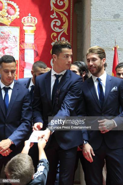 Lucas Vazquez Cristiano Ronaldo Sergio Ramos during the celebrations of Real Madrid Spanish League in Madrid Madrid headquarters hall on May 22 2017...