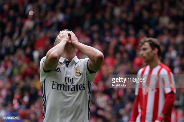 Lucas Vazquez forward of Real Madrid reacts after fail a shot during the La Liga Santander match between Sporting de Gijon and Real Madrid at Molinon...