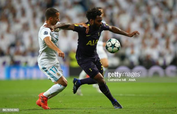 Lucas Vazquez of Real Madrid and Danny Rose of Tottenham Hotspur during the UEFA Champions League group H match between Real Madrid and Tottenham...