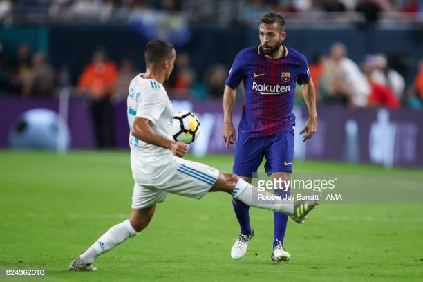Lucas Vazquez of Real Madrid and Jordi Alba of FC Barcelona during the International Champions Cup 2017 match between Real Madrid and FC Barcelona at...