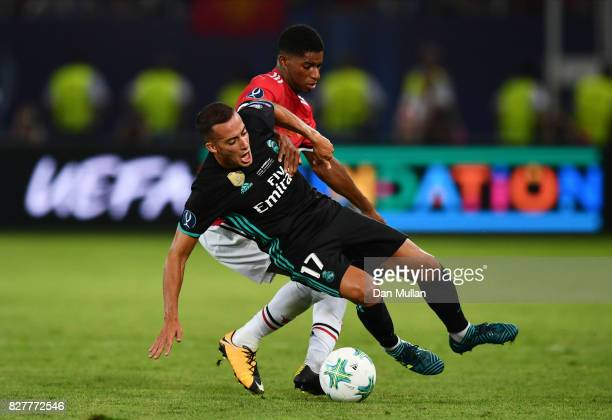 Lucas Vazquez of Real Madrid and Marcus Rashford of Manchester United battle for possession during the UEFA Super Cup final between Real Madrid and...