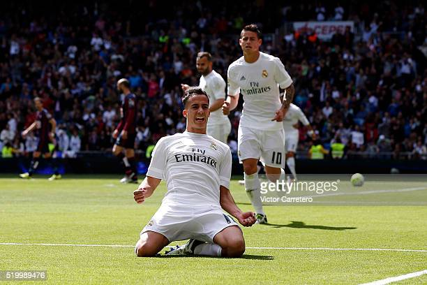 Lucas Vazquez of Real Madrid celebrates after scoring his team's second goal during the La Liga match between Real Madrid CF and SD Eibar at Estadio...