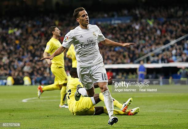 Lucas Vazquez of Real Madrid celebrates after scoring his team's second goal during the La Liga match between Real Madrid CF and Villarreal CF at...