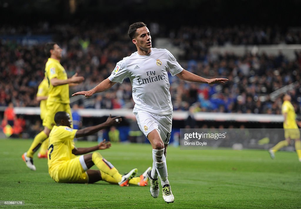 Lucas Vazquez of Real Madrid celebrates after scoring Real's 2nd goal during the La Liga match between Real Madrid and Villarreal at Estadio Santiago Bernabeu on April 20, 2016 in Madrid, Spain.