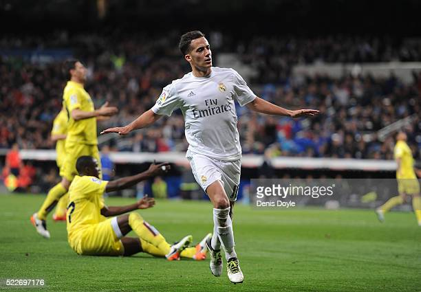 Lucas Vazquez of Real Madrid celebrates after scoring Real's 2nd goal during the La Liga match between Real Madrid and Villarreal at Estadio Santiago...