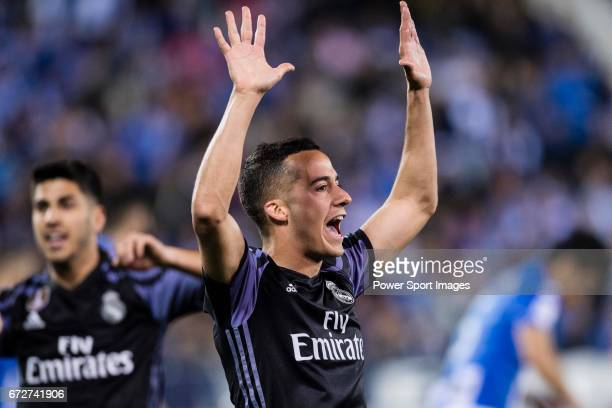Lucas Vazquez of Real Madrid celebrates during their La Liga match between Deportivo Leganes and Real Madrid at the Estadio Municipal Butarque on 05...