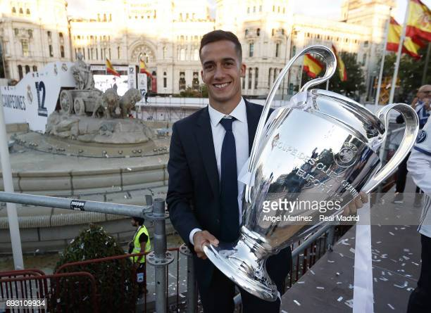 Lucas Vazquez of Real Madrid celebrates his UEFA Champions League victory at Cibeles square on June 4 2017 in Madrid Spain