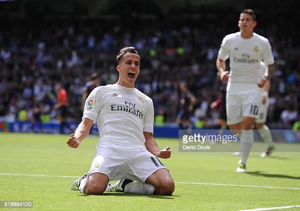 Lucas Vazquez of Real Madrid celebrates scoring his side's 2nd goal during the La Liga match between Real Madrid and Eibar at Estadio Santiago...