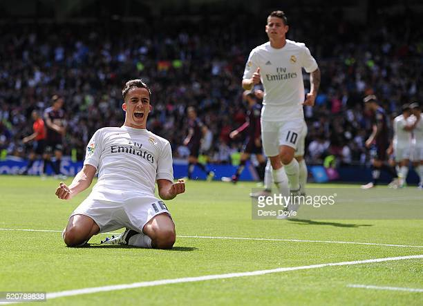 Lucas Vazquez of Real Madrid celebrates scoring his sid's 2nd goal during the La Liga match between Real Madrid and Eibar at Estadio Santiago...