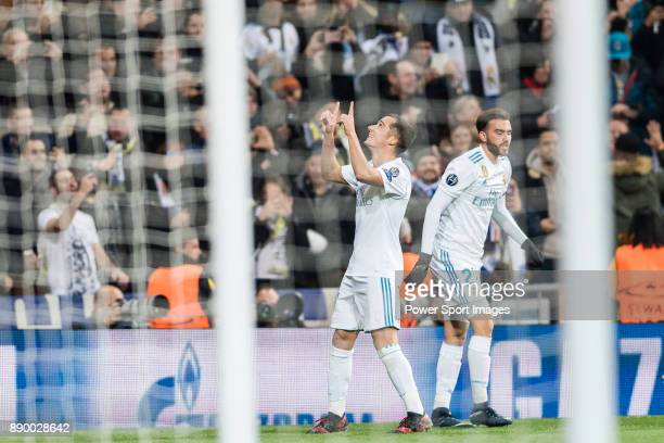 Lucas Vazquez of Real Madrid celebrating his score during the Europe Champions League 201718 match between Real Madrid and Borussia Dortmund at...