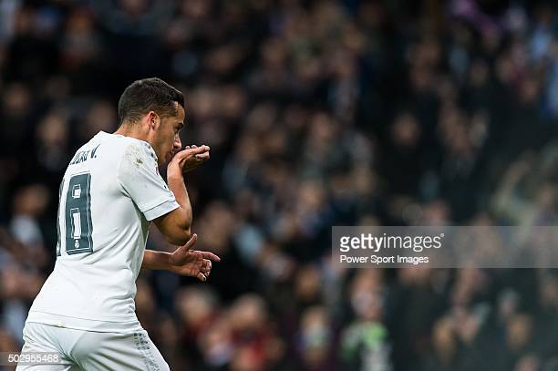 Lucas Vazquez of Real Madrid CF celebrates after scoring a goal during the Real Madrid CF vs Real Sociedad match as part of the Liga BBVA 20152016 at...