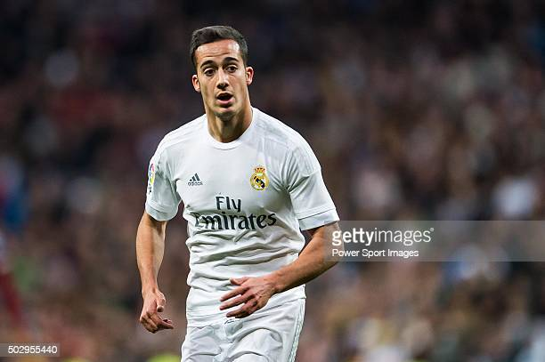 Lucas Vazquez of Real Madrid CF looks on during the Real Madrid CF vs Real Sociedad match as part of the Liga BBVA 20152016 at the Estadio Santiago...