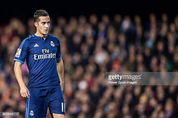 Lucas Vazquez of Real Madrid CF looks on during the Valencia CF vs Real Madrid CF as part of the Liga BBVA 20152016 at Estadi de Mestalla on January...