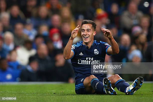 Lucas Vazquez of Real Madrid CF reacts during the UEFA Champions League Semi Final first leg match between Manchester City FC and Real Madrid at the...