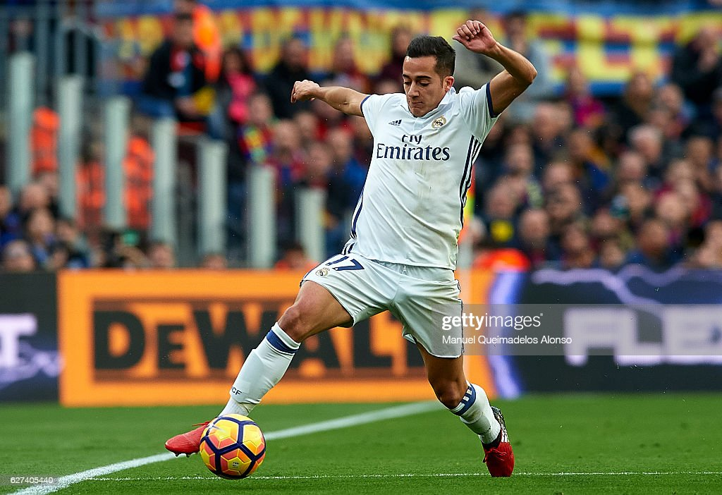 Lucas Vazquez of Real Madrid controls the ball during the La Liga match between FC Barcelona and Real Madrid CF at Camp Nou stadium on December 03...