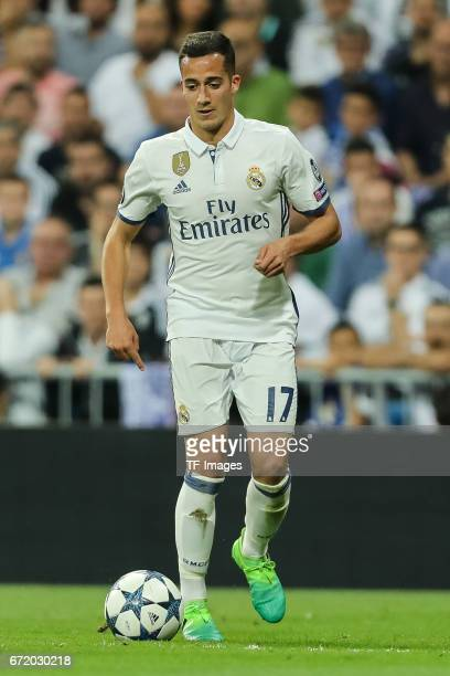 Lucas Vazquez of Real Madrid controls the ball during the UEFA Champions League Quarter Final second leg match between Real Madrid CF and FC Bayern...