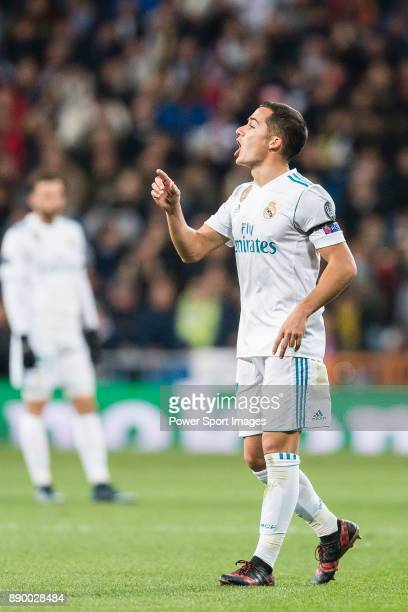 Lucas Vazquez of Real Madrid gestures during the Europe Champions League 201718 match between Real Madrid and Borussia Dortmund at Santiago Bernabeu...