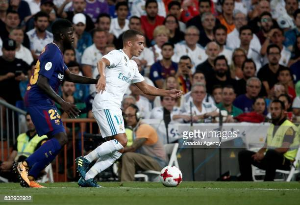 Lucas Vazquez of Real Madrid in action against Samuel Umtiti of Barcelona during the Spanish Super Cup return match between Real Madrid and Barcelona...