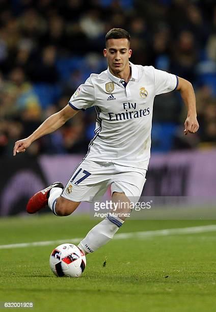 Lucas Vazquez of Real Madrid in action during the Copa del Rey quarterfinal first leg match between Real Madrid CF and Celta de Vigo at Estadio...